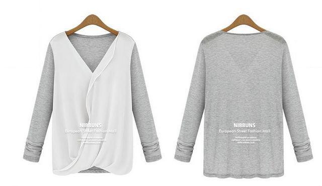 新品胸元シフォンキレイトップス グレー・ホワイト
