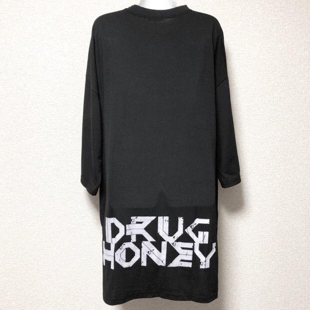 【新品/Drug honey】BACKロゴ入ロング丈7分袖T