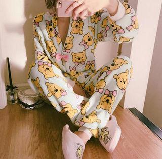 人気セット!クマパターンパジャマ可愛デザイン
