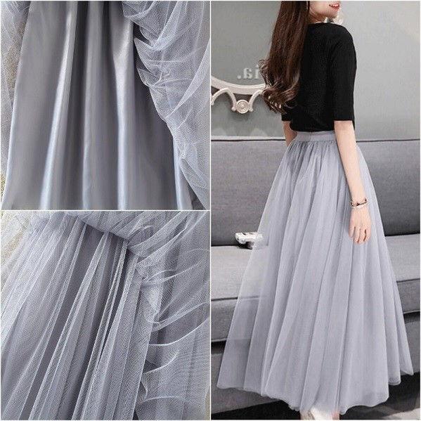 【即日発送】 大きいサイズ グレー ロング チュールスカート