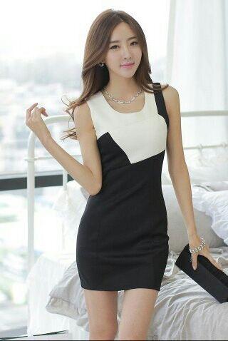 バイカラータイトドレス白×黒