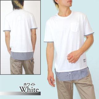 新品☆メンズ フェイクレイヤードTシャツ