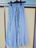 花柄 レース シースルー シフォンロングスカート ブルー