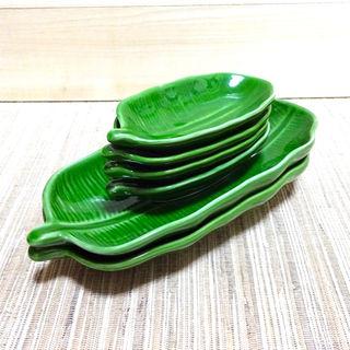ハワイアン バナナリーフ型 陶器皿 6枚セット リゾート