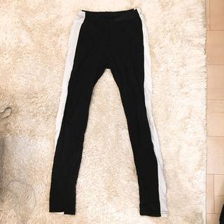 レギンス 太めワンライン ブラック 韓国 フリーサイズ