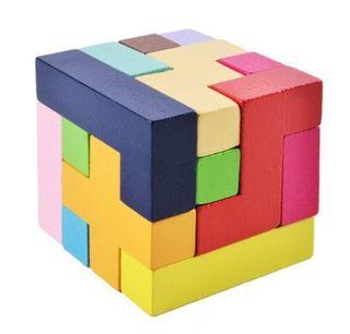 木製知育玩具 パズル テトリス ブロック 木製おもちゃ 小