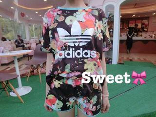 2016夏人気物 アディダス 半袖Tシャツ 上下セット 4色