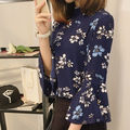 【女度アップ!】花柄シフォントップス 七分袖 シャツ