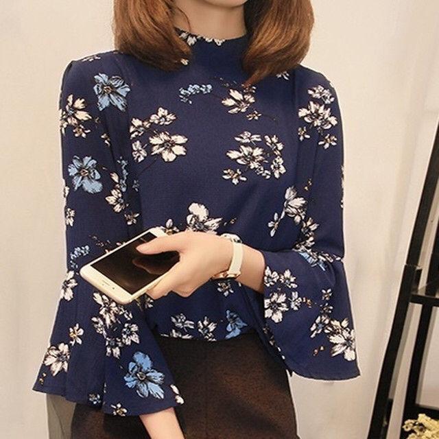 【女度アップ!】花柄シフォントップス 七分袖 シャツ - フリマアプリ&サイトShoppies[ショッピーズ]