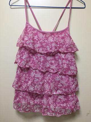 ピンクの花柄模様キャミソール
