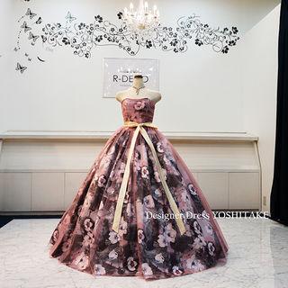 ウエディングドレス(パニエ無料) 花柄チュールドレス