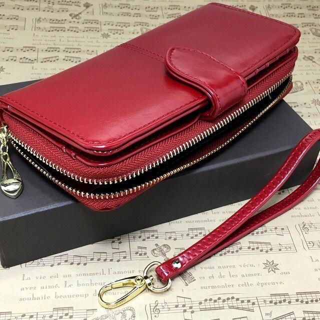 eef90ecb4b39 ... 赤; 高級長財布 しっとりしたレザー仕様 新品レディース長財布 ...
