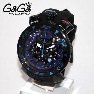 ガガミラノ 腕時計CHRONO 48MM ブラックxブルー