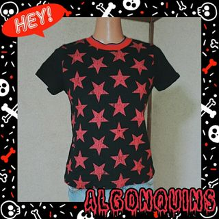 ALGONQUINS黒/赤 星いっぱいのTシャツ
