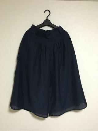 紺色 シフォン ガウチョパンツ