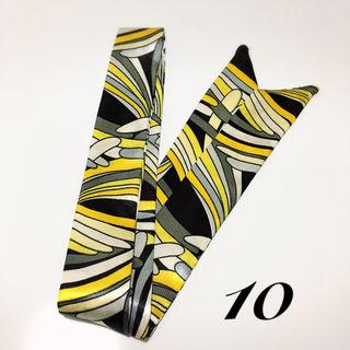 ツイリースカーフ10 黒 グレー