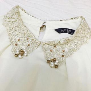 オルチャン飾り襟ブラウス