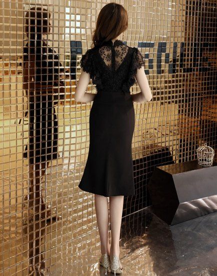 小花柄黒レース異素材MIXマーメイドワンピース ドレス