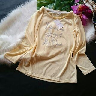 新品!タグ付き!anysis英語ロゴ×春色ロングTシャツ