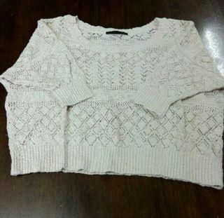フリーサイズ ヘザー 透かし ニットセーター 七分袖