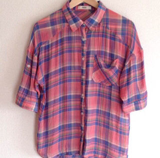 OZOC 五分袖チェックシャツ
