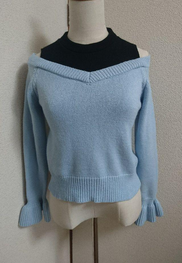 セシルマクビー水色×ブラック重ね着風ニットセーター