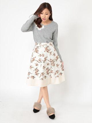 裾切り替え花柄スカート(Fabulous Angela)