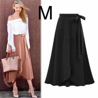 新品ウエストリボンチューリップスカート ブラック M