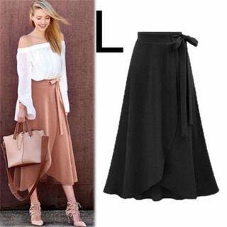 新品ウエストリボンチューリップスカート ブラック L