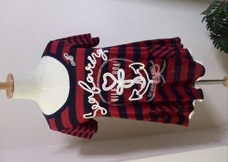 TKタケオキクチネイビーレッドストライプ半袖シャツ