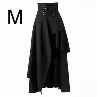 新品編み上げデザインマキシ丈スカート ブラック M