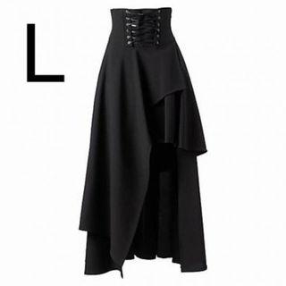 新品編み上げデザインマキシ丈スカート ブラック L