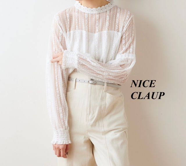 新品NICE CLAUP 袖シャーリングレースブラウス