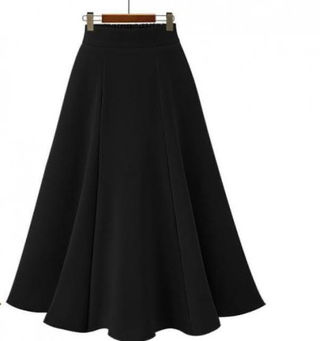 新品シンプルふんわりマキシスカート ブラック F