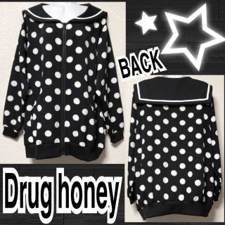 【新品/Drug honey】セーラーカラードット柄トップス