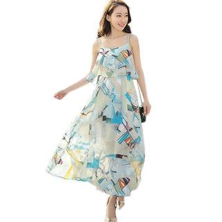 レディース ワンピース ノースリーブ シフォン ドレス
