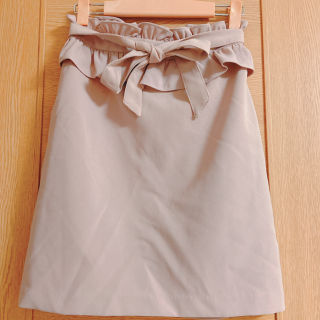 アラマンダ 茶色のリボンタイトスカート