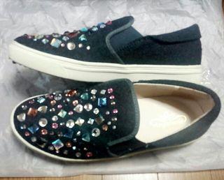 スリッポン oneway ビジュー付き 靴