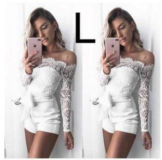 新品胸元レースオールインワン ホワイト L