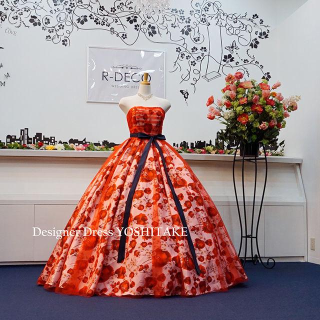 ウエディングドレス(パニエ無料サービス) 赤チュール&赤花柄