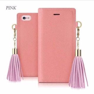 20☆タッセル付き手帳型iPhoneケース☆ピンク
