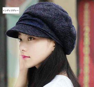 【インディゴグレー藍灰色】小顔効果 防寒 キャスケット 帽子