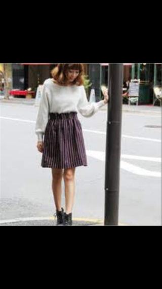 ヘザー ストライプギャザースカート