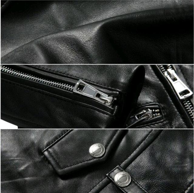 100%本革本皮柔らかくて暖かい羊皮ライダースジャケット