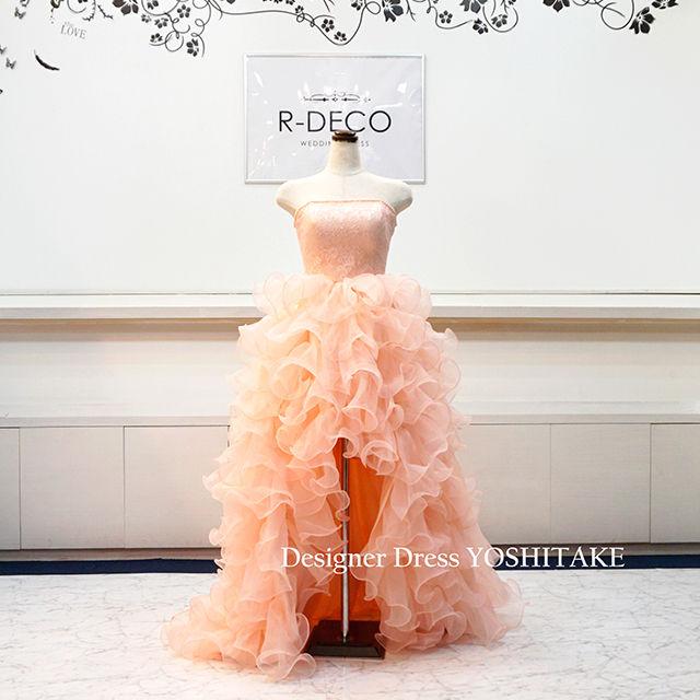 ウエディングドレス 上半身レース・前空きスカート