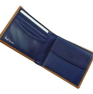 ポールスミス 二つ折り財布 キャメル イタリアンカーフ
