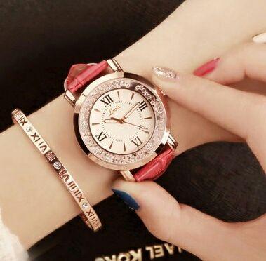 ラインストーン レディース 腕時計 ホワイト レッド