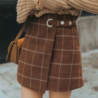 チェック 柄 スカート ミニ丈 巻きスカート風 ブラウン M