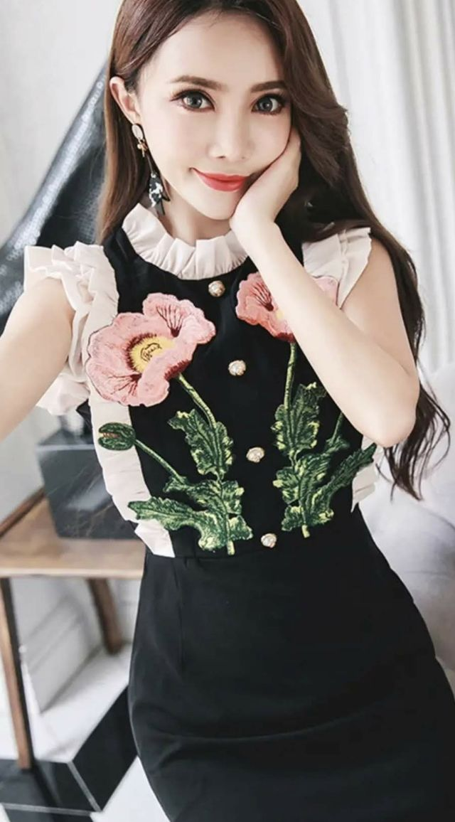 花柄刺繍ワンピース結婚式パーティー二次会