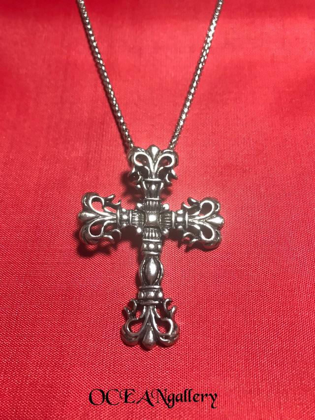 シルバービッグメタルクロス十字架ネックレスロールチェーン